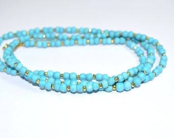 Turquoise necklace,beaded necklace,Rondelle necklace,Turquoise color necklace,birthstone necklace,women jewelry,gemstone necklace,