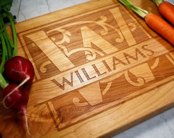 Personalized Cutting Board - Wedding Gift - Monogrammed - Housewarming - Gift for Her - Fiance - Cooking - Custom Kitchen - Laser Engrave