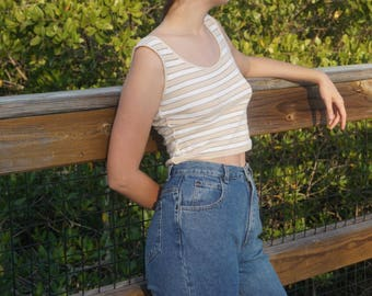 Caché Neutral Stripped Sweater Crop Tank Top / XS / S