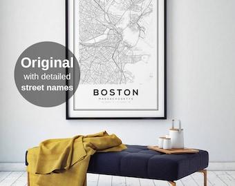 Boston Map Print City Map Decor City Map Wall Art Massachusetts Map