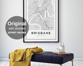 Brisbane City Map, Brisbane Map Art, Map Print, Black and White Map, City Map Art, Brisbane Map, Brisbane, Australia Map Print, Digital Art