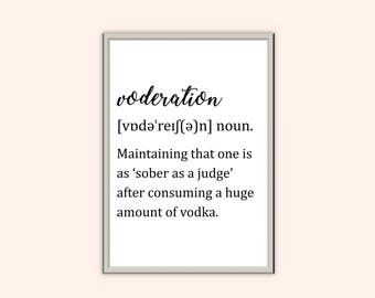 Voderation Definition // Funny Typography Prints // Home Decor Print // Wall Art // Kitchen // Dining Room