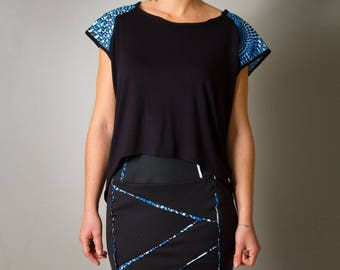 """Skirt for women """"Lily"""", black and blue length knee, printed blue, slinky wax"""