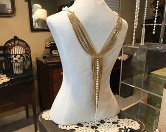 Bridal Body Jewelry, Body Necklace, Bridal Shoulder Necklace, Bridal Body Necklace, Bridal Shoulder Jewelry, Bridal Back Necklace