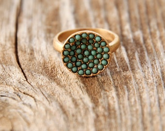 turquoise Stone Ring, Gold & turquoise Ring, light blue ring, turquoise small stone ring,  round turquoise stone ring, delicate ring