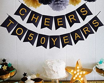 50th Birthday Party | Cheers To 50 Years Banner | Wedding Anniversary | 50th