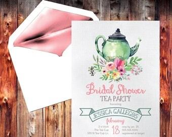 Bridal Tea Party / Bridal Shower Invite / Shower Invitation / Tea Bridal Shower / Tea Party Shower / Shower the Bride / Bridal Invitation