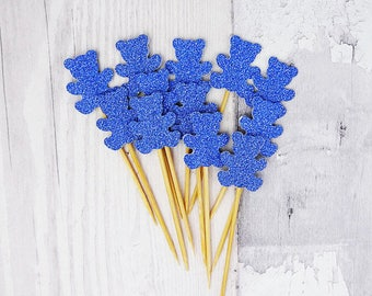 Blue glitter teddy bear cupcake toppers, New baby cake picks, Baby shower gender reveal, Birthday party, Colours: gold, silver, green, pink