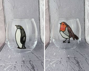 Bird glass tea light holder, Robin candle holder, Penguin candle holder, Hand painted stained glass effect, Votive candle holder