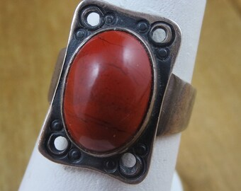 Vintage Carnelian Stone Ring Sterling Silver Size 7
