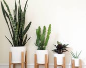 """Mid-Century Modern Plant Stand, Wooden Plant Stand, Indoor Plant Stand, 6"""", 8"""", 10"""", 12"""" Pots, Modern Minimalist Planter, Retro Plant Stand"""
