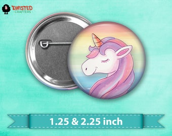 "Pastel Rainbow Unicorn Pin Back Button, Flair, 2.25"" button, 1.25"" button, Button Party Favors, Birthday Party Favors, Badge Buttons"