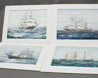 Set of Four Jack Spurling Maritime Prints Nautical England English Matted Sailing Ships Sea Tall Vintage Gift Water Sky Frame Ready Boats