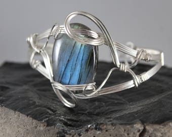 Sterling Silver Filled Wire Wrapped Blue Labradorite Cuff