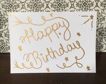 Happy Birthday Card (Gold)