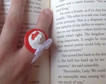 Strawberry and Cream ring with bow accent