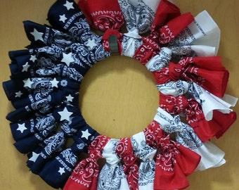 USA Wreath, Forth of July Wreath, Patriotic Wreath,Summer Wreath, Red White Blue Wreath, Americana Wreath, Front Door Wreath, Veterans Day