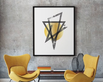 Gold Geometric Decor, Geometric Art, Geometric Print, Minimalist Poster, Geometric Art Decor, Printable Art, Printable Wall Art, Wall Art