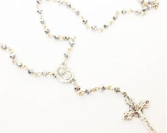 SANTA CRUZ, choker rosary, italy cross, Rosary Necklace | silver and gold Rosary Necklace | Gold Rosary | Religious | Cross