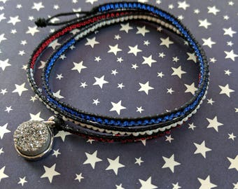 Patriotic Druzy Charm Wrap Bracelet