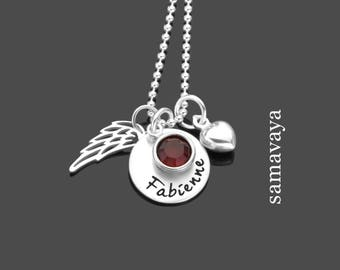 BEAUTIFUL name necklace 925 Silver chain with engraved silver jewelry heart with Wing
