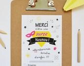 Carte illustrée SUPER NOUNOU // Carte cadeau de fin d'année pour les Nounous au format A6, carte de remerciements, carte message