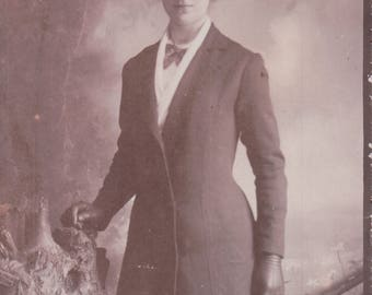 Studio Photograph of a Young Woman in Her Sunday Best. - Postcard - Blank.