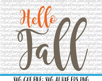 Hello Fall svg saying, pumpkin svg, fall svg, autumn svg, harvest svg,  PNG, Cricut, Silhouette, Cut File Clip art