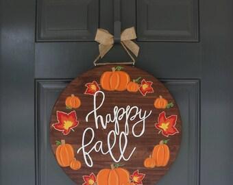 Fall Door Hanger, Pumpkin Door Hanger, Thanksgiving Door Hanger, Halloween Door Hanger, Happy Fall Door Hanger, Fall Wreath