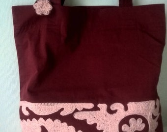 Red and Pink embroidered handbag Shoulder bag Pink embroidery Red tote bag