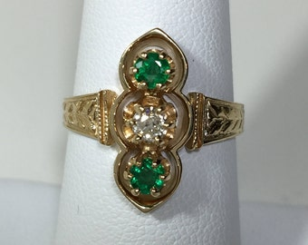 14K Yellow Gold Emerald and Old European Cut Diamond Ring.
