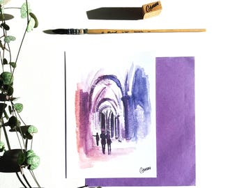 Map postcard watercolor reproduction sketch, draw inside purple Church, Church Paris architecture, design hand drawing illustration