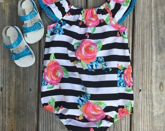 Floral Romper, Toddler Romper, Summer Romper