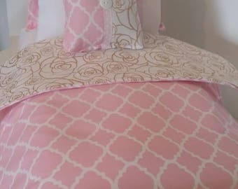 """18"""" Doll Bedding Set, Pink and Gold Roses Doll Bedding, Made to Fit 18"""" Dolls Such as The American Girl Dolls"""