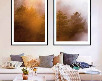 Forest Photography, Trees in Fog Nature Art Prints, Landscape Photo, Large Wall Art Forest Print, Foggy Forest Landscape Prints Download