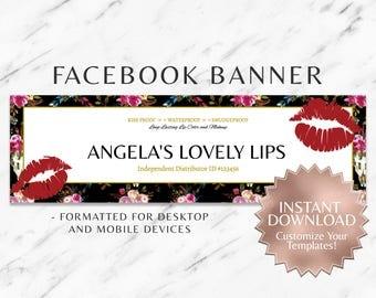 Black|Red|Boho|Floral|Gold|LipSense Facebook Banner|Social Media|Facebook Banner|SeneGence|LipSense Distributor|Branding|Marketing|INSTANT