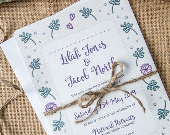 Floral Embroidery Main Wedding Invitation Card ~ SAMPLE