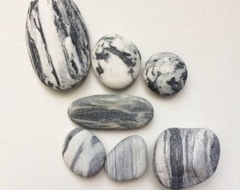 Striped Beach Stones, 8pcs, Gratitude Stones, Beach Pebbles, Beach Finds, Stones for Crafts, Beach Stones, Mediterranean Pebbles