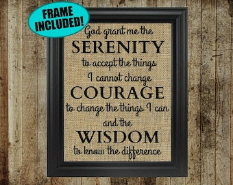 Framed Burlap Serenity Prayer Print - Serenity Prayer Wall Art - Serenity Prayer Sign - God Grant Me The Serenity - Quote Prints