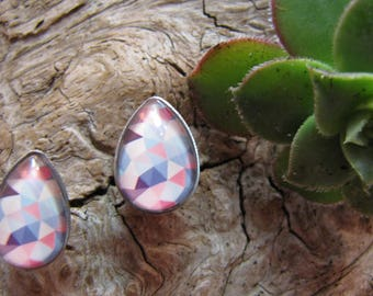 Earring cabochon teardrop shaped 10 x 14 mm, geometric shape, multi color stainless steel, stainless steel
