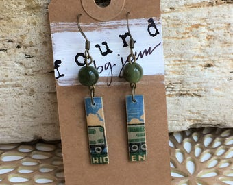 Matchstick Earrings, Vintage Earrings, Vintage Matchsticks, Cloud Earrings, Train Earrings, Funky Earrings, Recycled Jewelry, Gift for Her