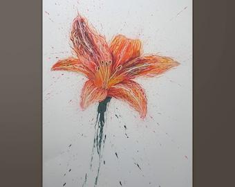 "Flower' 19.6"" x 27.5"" Original Acrylic Painting On Canvas"
