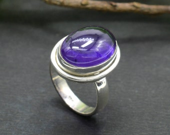 Natural Amethyst Oval Gemstone Ring 925 Sterling Silver R307