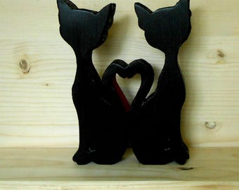 Black cats loved wood-ornament