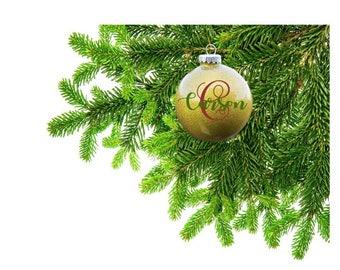 Monogram Ornament, personalized xmas ornament, custom christmas ornament, custom xmas ball, gold glitter christmas ornament, monogram ball