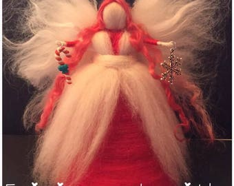 Chirstmas Tree Top Fairy, Needle Felt Fairy, Christmas Fairy, Waldorf Inspired Fairy, Red Fairy