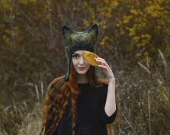 Autumnal Fox hat. Felted winter eared hat. Cute woodland animal hat. Fairy cat hat. Funny & cozy fox costume hat. Festival headdress.