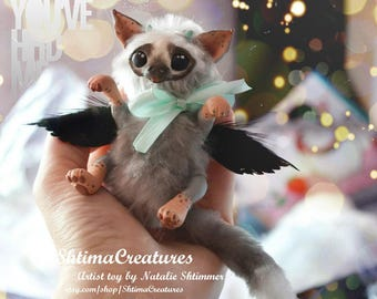 ooak art doll teddy polymer clay baby trico the last guardian bat monster kawaii poseable gray orange fantasy game hero wings