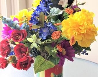 Red Rose Flower Arrangement, Small Silk Centerpiece, Artificial Flowers, Silk Flower Arrangement, Small Arrangement, Cat Centerpiece, Roses