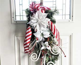 White Poinsettia Swag, Winter Swag, Door Wreath, Christmas Swag Wreath, Door Swag, Floral Wreath, Rustic Holiday Swag, White Holiday Decor